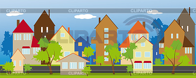Street of small town | Stock Vector Graphics |ID 3355003