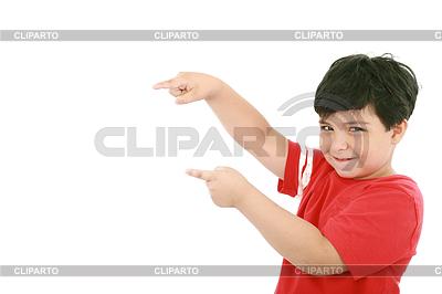 A little boy points at something, boy presents | Foto stockowe wysokiej rozdzielczości |ID 3357554