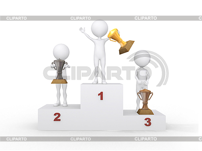 Winner celebrating on podium. 3D | High resolution stock illustration |ID 3357942