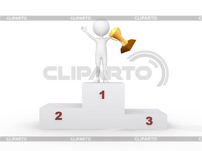 3D-Mensch mit Pokal auf dem Podest | Illustration mit hoher Auflösung |ID 3357965