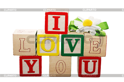 Phrase I LOVE YOU formed of wooden letter blocks | High resolution stock photo |ID 3358566
