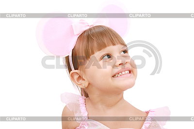 Dziewczynka ma na sobie uszy myszy `s | Foto stockowe wysokiej rozdzielczości |ID 3358653