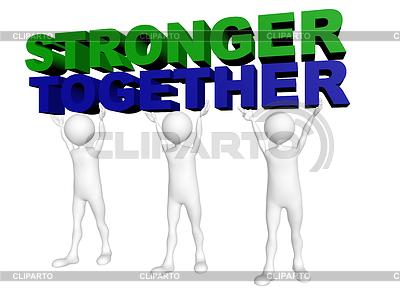 Drei Männer mit vereinten Kräften Worte Gemeinsam Stärker heben | Illustration mit hoher Auflösung |ID 3361019