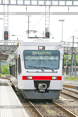 Train locomotive coming to Lausanne platform Station | High resolution stock photo |ID 3361109