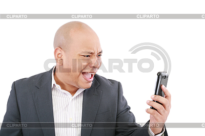 Angry business man screaming on cell mobile phone,   High resolution stock photo  ID 3369519