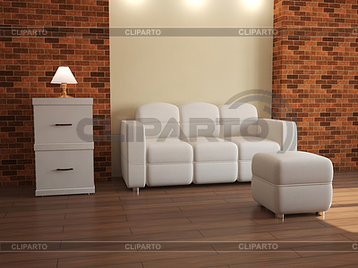 Interior with white furniture | High resolution stock illustration |ID 3365487