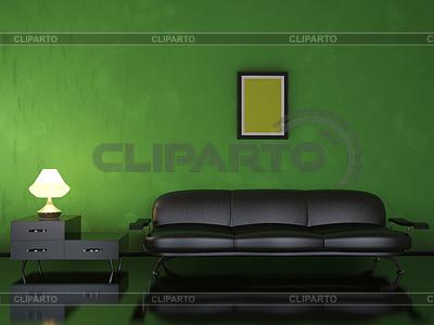 Interior with black sofa | High resolution stock illustration |ID 3365498
