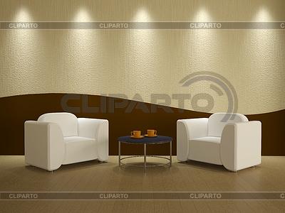 Интерьер комнаты с двумя креслами | Иллюстрация большого размера |ID 3370280