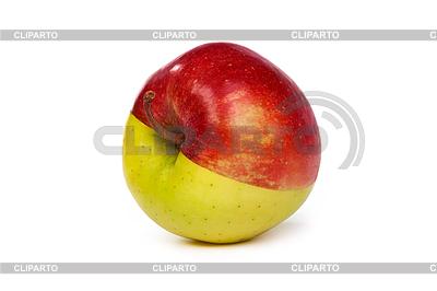 Jabłko z pół zielone i czerwone połowę | Foto stockowe wysokiej rozdzielczości |ID 3371819