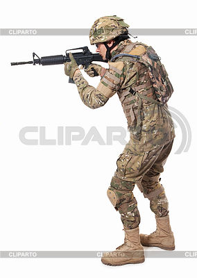 Modern soldier with rifle | High resolution stock photo |ID 3371938
