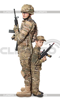 Military Father and Son | High resolution stock photo |ID 3374939