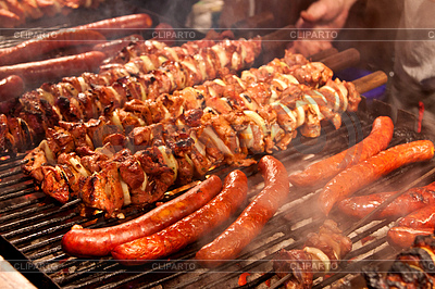 Steak and other meat on barbeque. Background | High resolution stock photo |ID 3375126