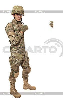 Modern soldier holding poster   High resolution stock photo  ID 3375438