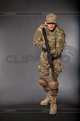 Soldier with rifle | High resolution stock photo |ID 3375478