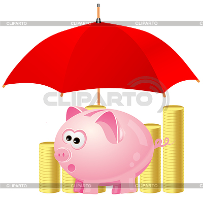 Piggy-bank and money under red umbrella | Stock Vector Graphics |ID 3382038