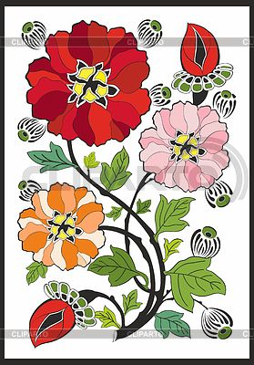新艺术风格 - 花朵图案   向量插图  ID 3376964