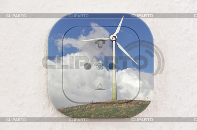 Conceptual: Wind Turbine over Power Outlet | High resolution stock photo |ID 3379909